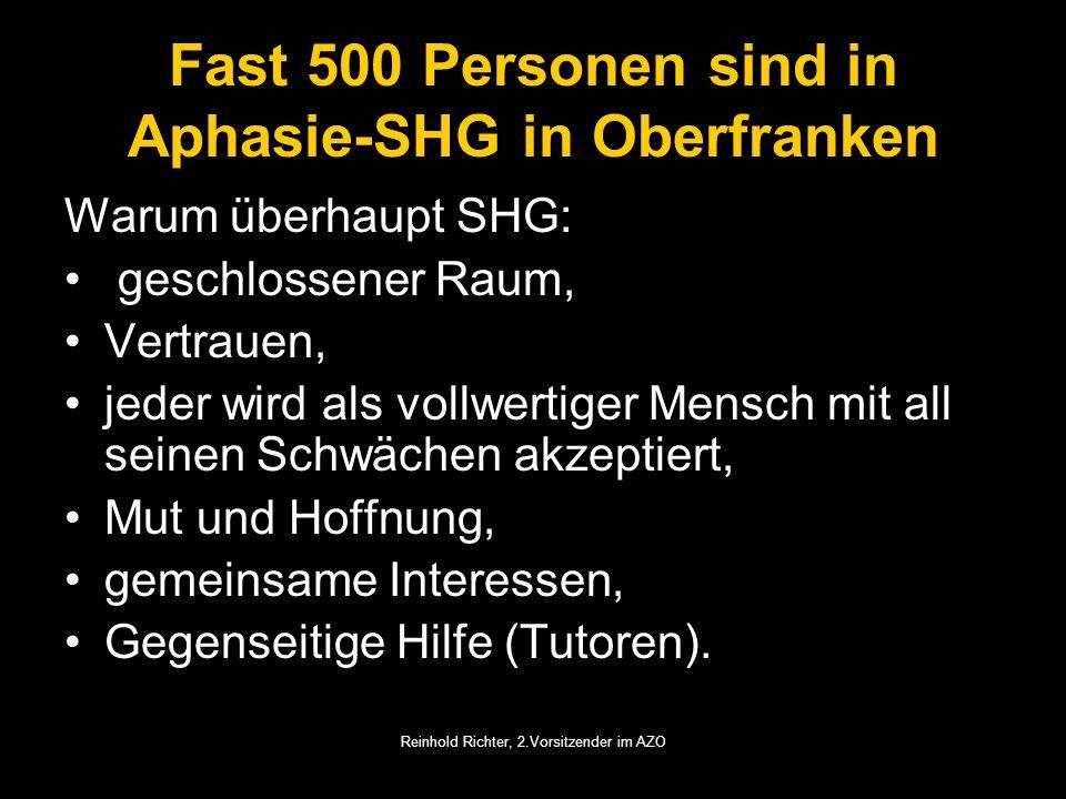 Reinhold Richter, 2.Vorsitzender im AZO Fast 500 Personen sind in Aphasie-SHG in Oberfranken Warum überhaupt SHG: geschlossener Raum, Vertrauen, jeder