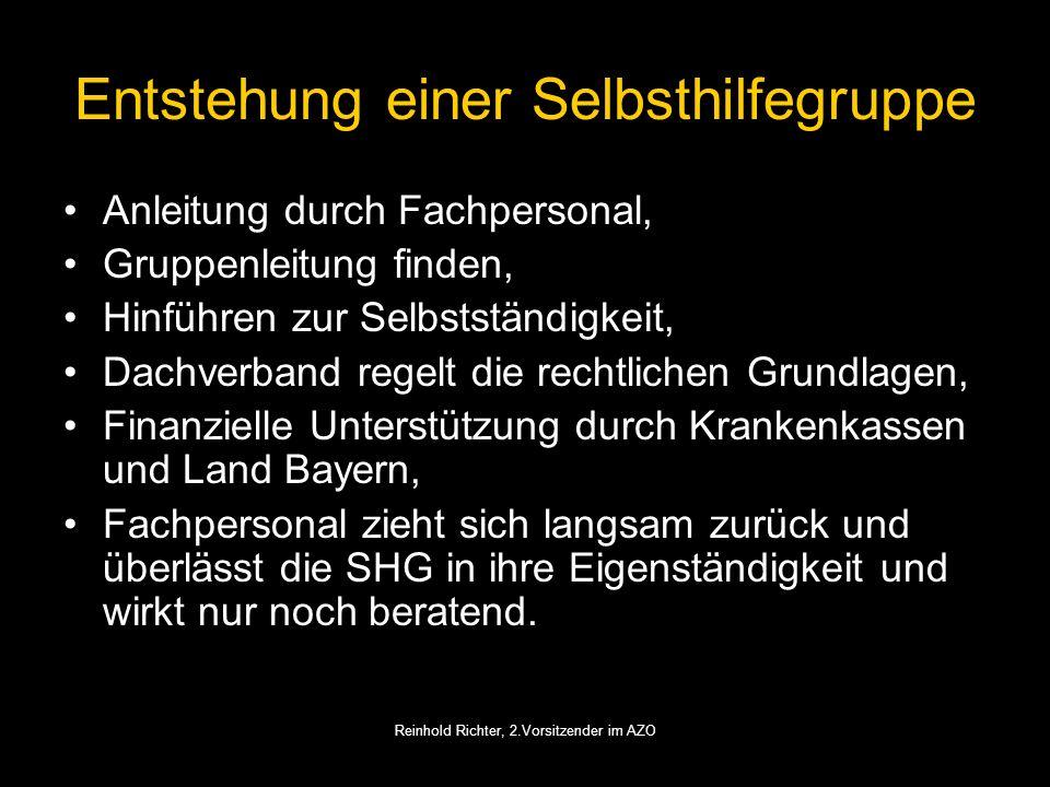 Reinhold Richter, 2.Vorsitzender im AZO Entstehung einer Selbsthilfegruppe Anleitung durch Fachpersonal, Gruppenleitung finden, Hinführen zur Selbstst