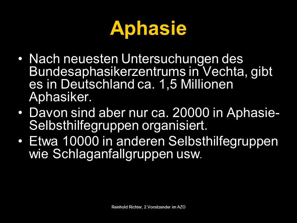 Reinhold Richter, 2.Vorsitzender im AZO Aphasie Nach neuesten Untersuchungen des Bundesaphasikerzentrums in Vechta, gibt es in Deutschland ca. 1,5 Mil