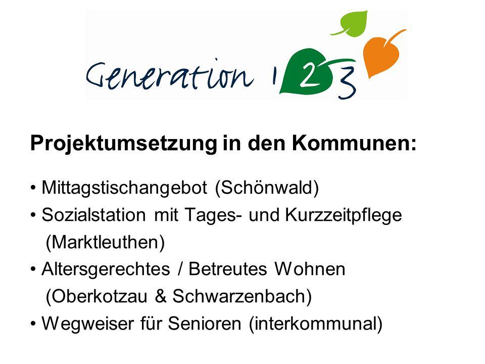 Projektumsetzung in den Kommunen: Mittagstischangebot (Schönwald) Sozialstation mit Tages- und Kurzzeitpflege (Marktleuthen) Altersgerechtes / Betreutes Wohnen (Oberkotzau & Schwarzenbach) Wegweiser für Senioren (interkommunal)