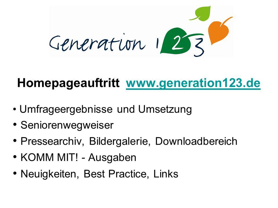 Homepageauftritt www.generation123.dewww.generation123.de Umfrageergebnisse und Umsetzung Seniorenwegweiser Pressearchiv, Bildergalerie, Downloadbereich KOMM MIT.