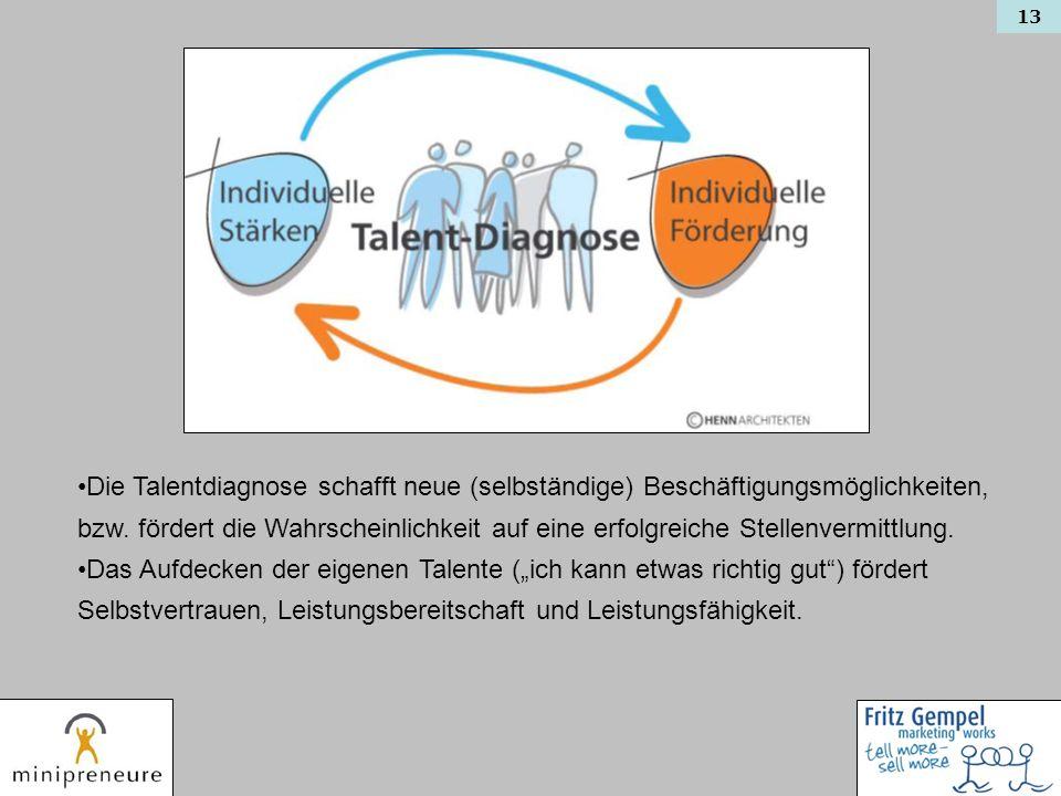 13 Die Talentdiagnose schafft neue (selbständige) Beschäftigungsmöglichkeiten, bzw. fördert die Wahrscheinlichkeit auf eine erfolgreiche Stellenvermit