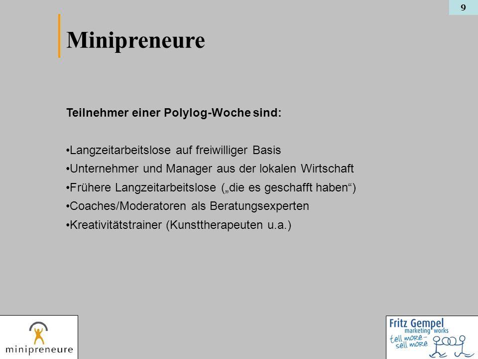 9 Teilnehmer einer Polylog-Woche sind: Langzeitarbeitslose auf freiwilliger Basis Unternehmer und Manager aus der lokalen Wirtschaft Frühere Langzeita