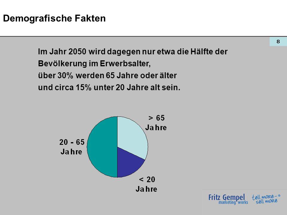 8 Demografische Fakten Im Jahr 2050 wird dagegen nur etwa die Hälfte der Bevölkerung im Erwerbsalter, über 30% werden 65 Jahre oder älter und circa 15