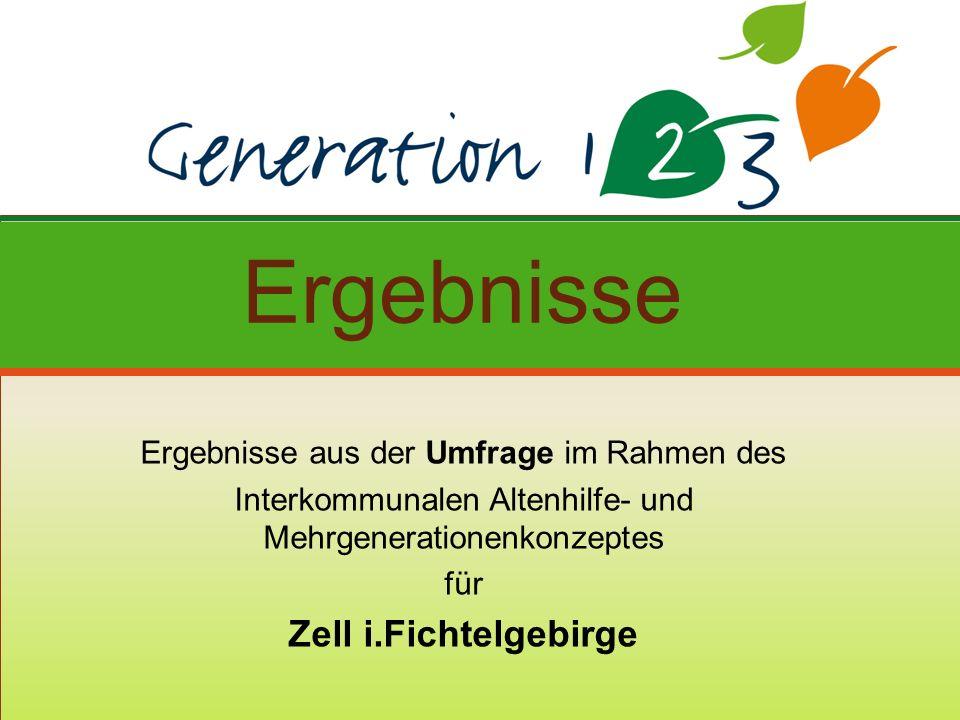 Ergebnisse aus der Umfrage im Rahmen des Interkommunalen Altenhilfe- und Mehrgenerationenkonzeptes für Zell i.Fichtelgebirge Ergebnisse