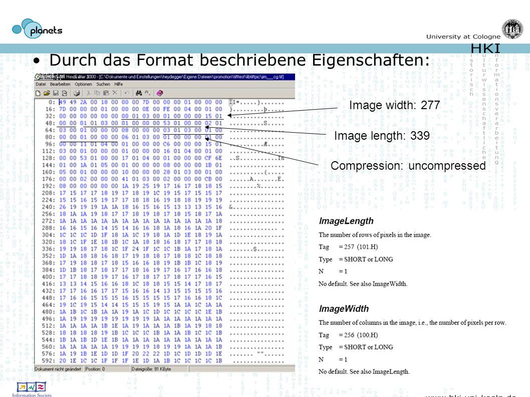 Durch das Format beschriebene Eigenschaften: Image width: 277 Image length: 339 Compression: uncompressed