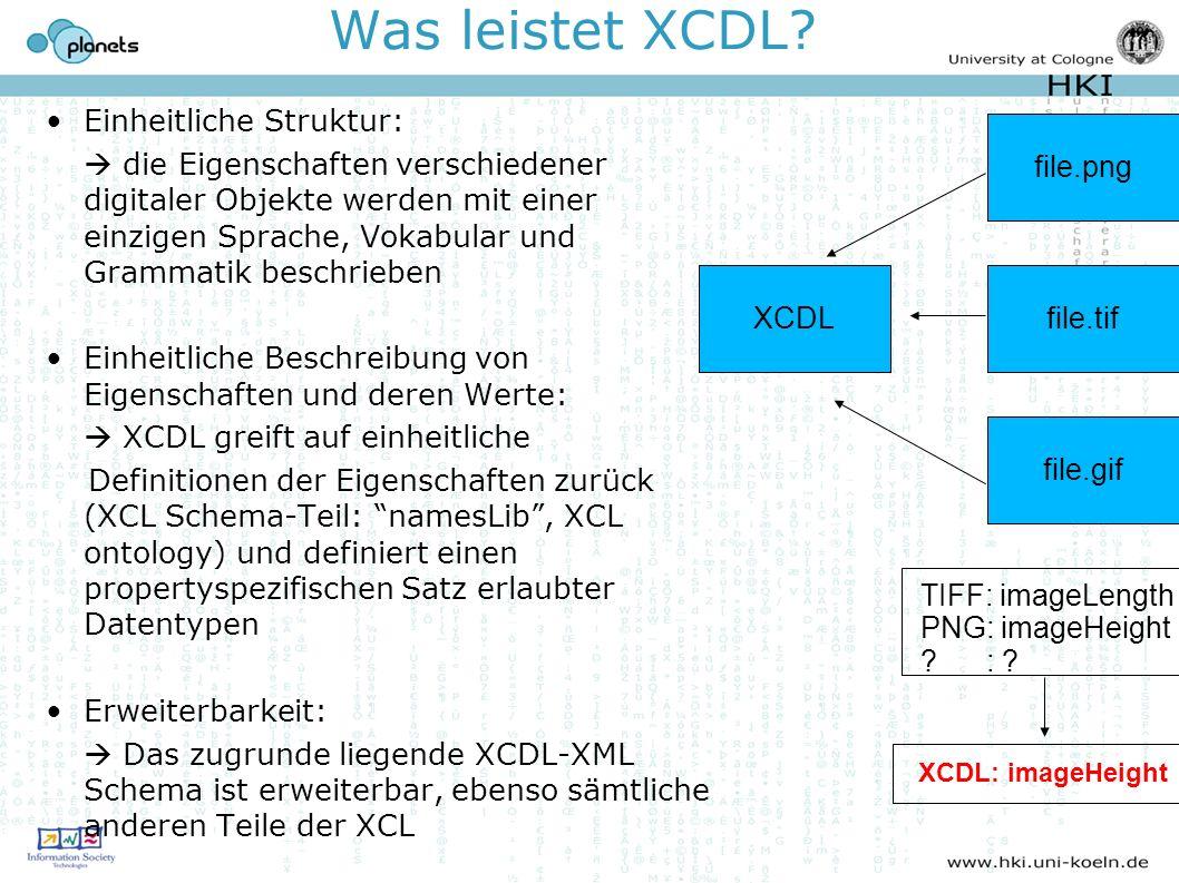 Was leistet XCDL? Einheitliche Struktur: die Eigenschaften verschiedener digitaler Objekte werden mit einer einzigen Sprache, Vokabular und Grammatik
