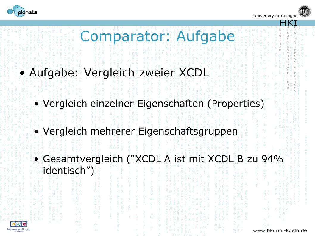 Comparator: Aufgabe Aufgabe: Vergleich zweier XCDL Vergleich einzelner Eigenschaften (Properties) Vergleich mehrerer Eigenschaftsgruppen Gesamtvergleich (XCDL A ist mit XCDL B zu 94% identisch)