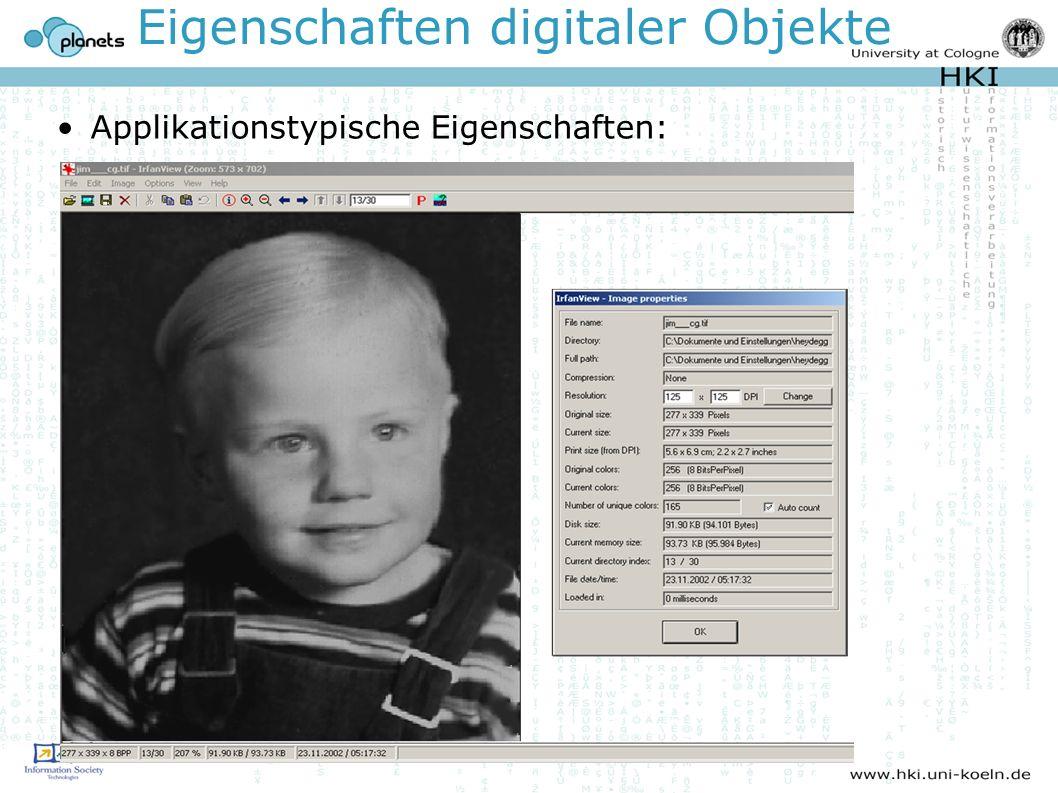 Eigenschaften digitaler Objekte Applikationstypische Eigenschaften: