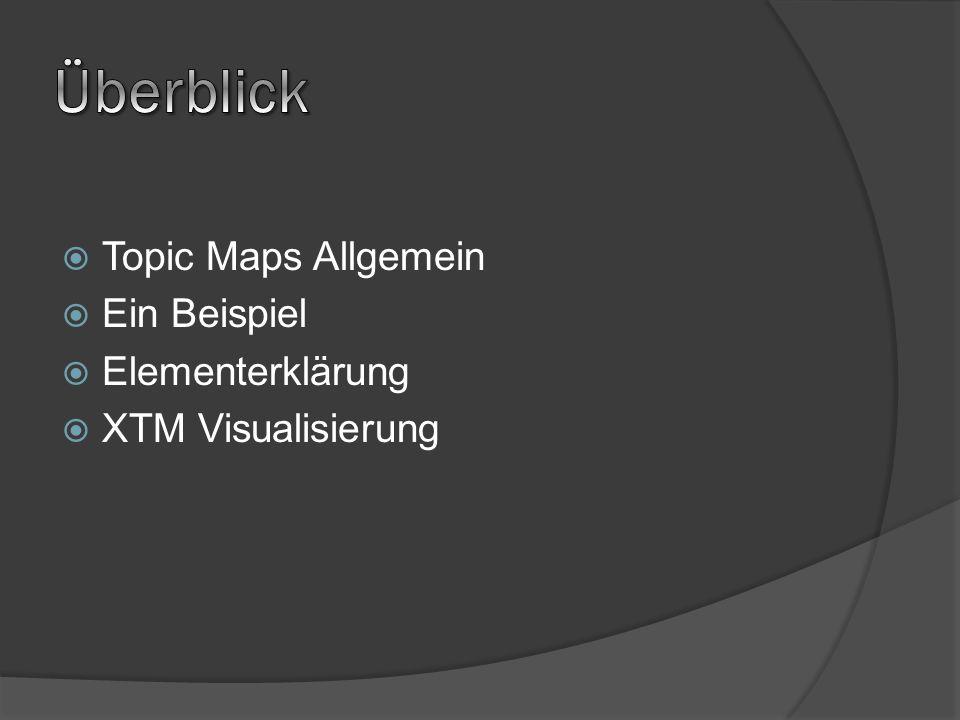 Topic Maps Allgemein Ein Beispiel Elementerklärung XTM Visualisierung