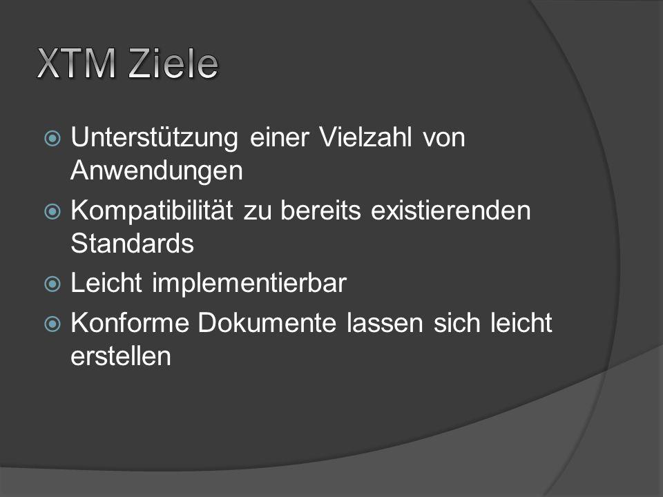 Unterstützung einer Vielzahl von Anwendungen Kompatibilität zu bereits existierenden Standards Leicht implementierbar Konforme Dokumente lassen sich l
