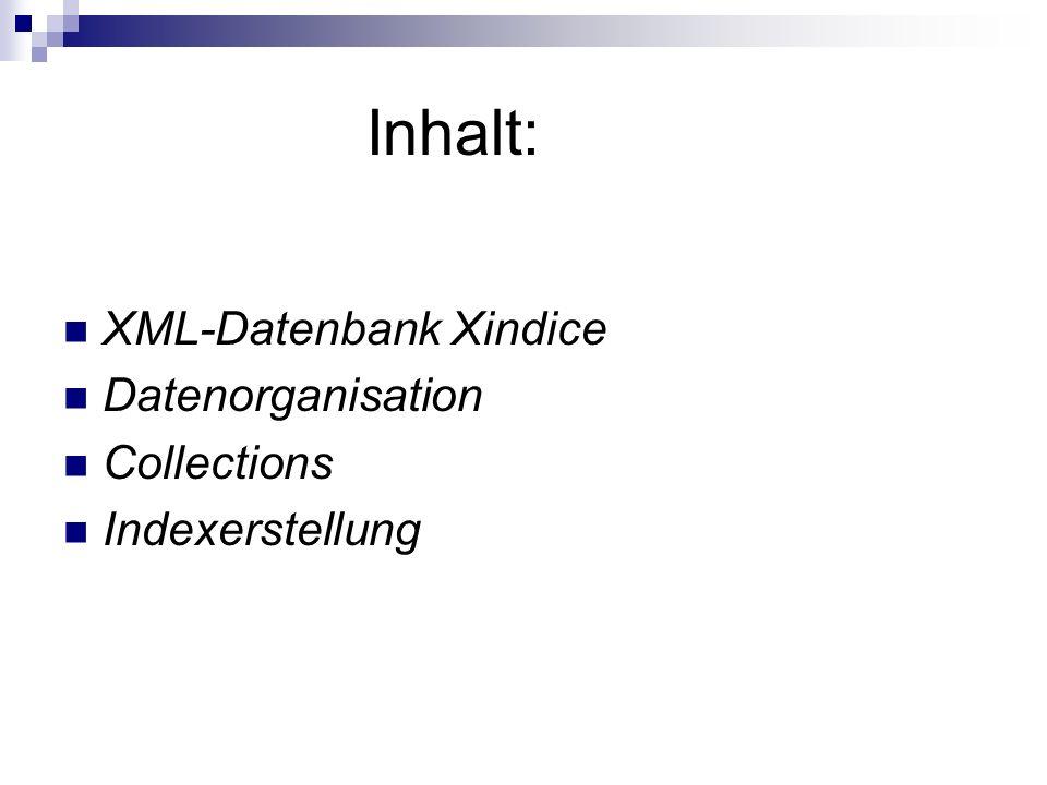 Inhalt: XML-Datenbank Xindice Datenorganisation Collections Indexerstellung