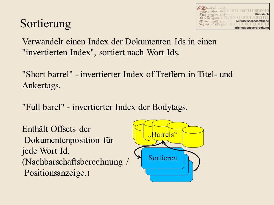 Sortierung Barrels Sortieren Verwandelt einen Index der Dokumenten Ids in einen