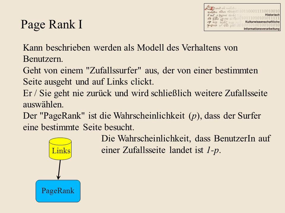 Page Rank I Kann beschrieben werden als Modell des Verhaltens von Benutzern. Geht von einem