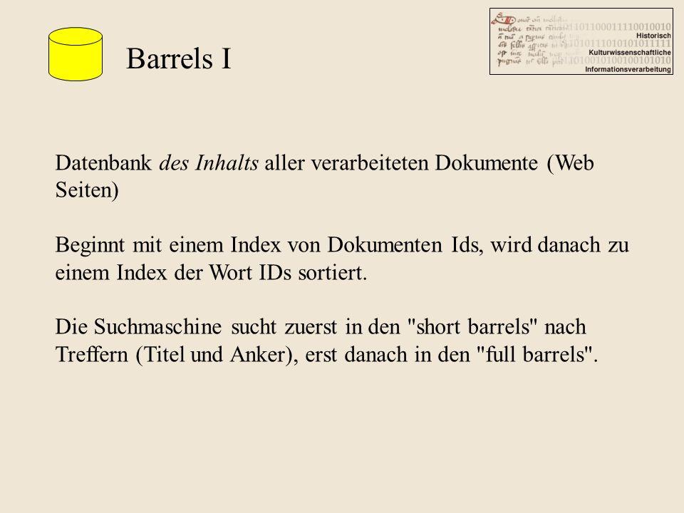 Barrels I Datenbank des Inhalts aller verarbeiteten Dokumente (Web Seiten) Beginnt mit einem Index von Dokumenten Ids, wird danach zu einem Index der