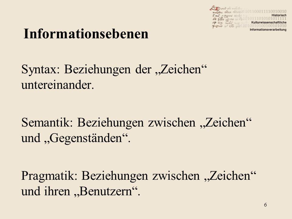 Informationsebenen Syntax: Beziehungen der Zeichen untereinander. Semantik: Beziehungen zwischen Zeichen und Gegenständen. Pragmatik: Beziehungen zwis