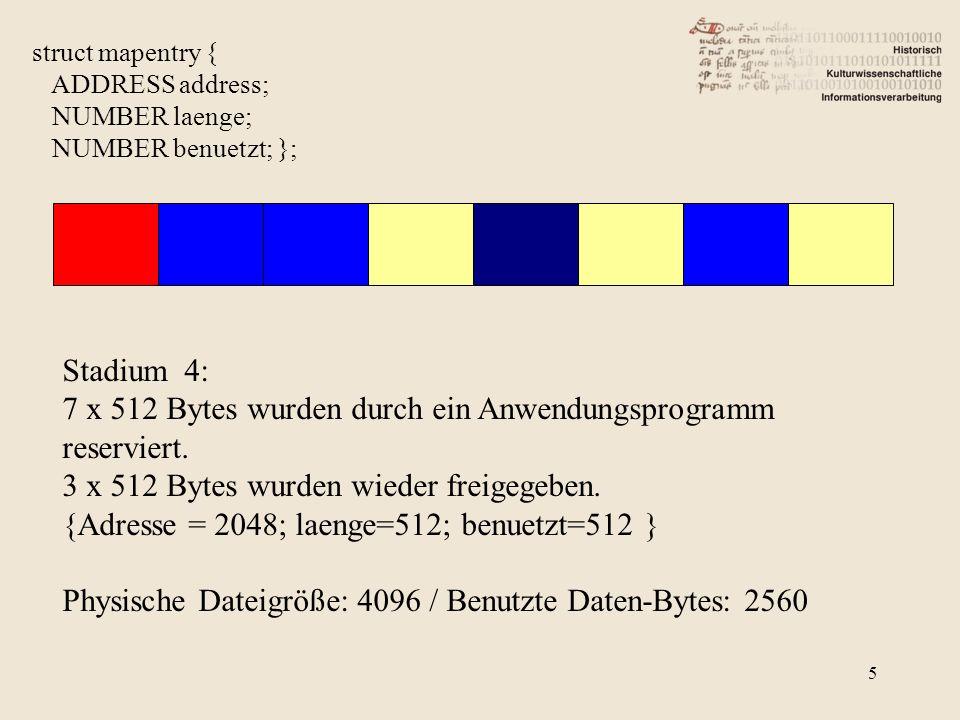 6 struct mapentry { ADDRESS address; NUMBER laenge; NUMBER benuetzt; }; Stadium 4a: 7 x 512 Bytes wurden durch ein Anwendungsprogramm reserviert.