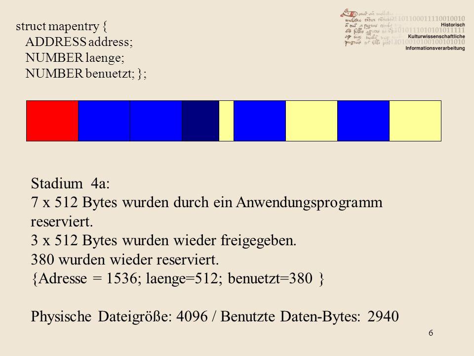 6 struct mapentry { ADDRESS address; NUMBER laenge; NUMBER benuetzt; }; Stadium 4a: 7 x 512 Bytes wurden durch ein Anwendungsprogramm reserviert. 3 x