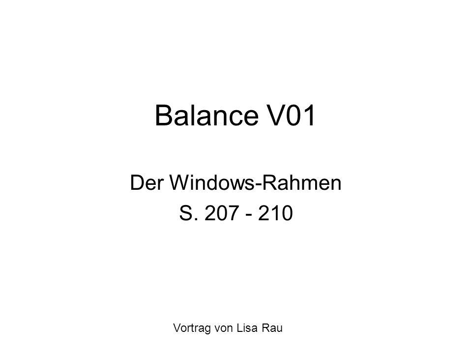 Balance V01 Der Windows-Rahmen S. 207 - 210 Vortrag von Lisa Rau