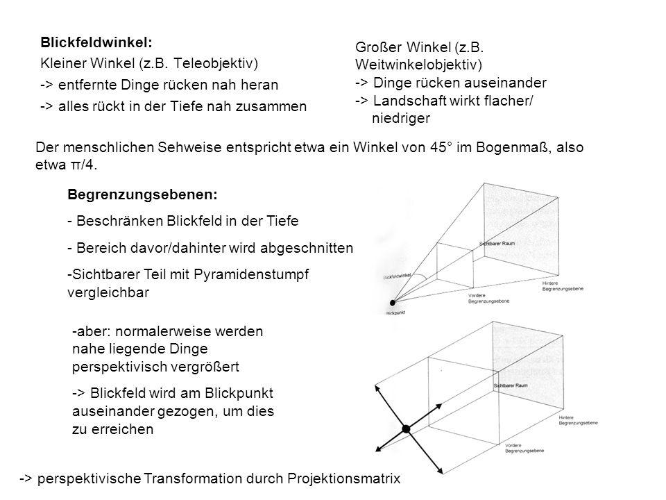 Blickfeldwinkel: Kleiner Winkel (z.B.