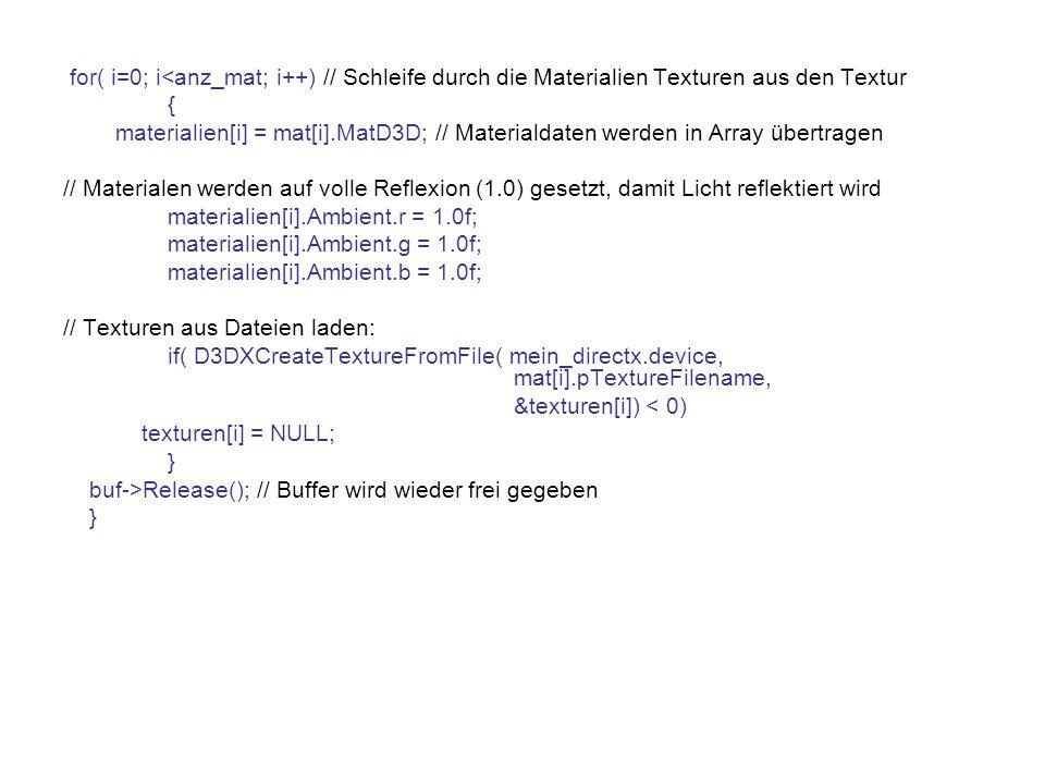 for( i=0; i<anz_mat; i++) // Schleife durch die Materialien Texturen aus den Textur { materialien[i] = mat[i].MatD3D; // Materialdaten werden in Array übertragen // Materialen werden auf volle Reflexion (1.0) gesetzt, damit Licht reflektiert wird materialien[i].Ambient.r = 1.0f; materialien[i].Ambient.g = 1.0f; materialien[i].Ambient.b = 1.0f; // Texturen aus Dateien laden: if( D3DXCreateTextureFromFile( mein_directx.device, mat[i].pTextureFilename, &texturen[i]) < 0) texturen[i] = NULL; } buf->Release(); // Buffer wird wieder frei gegeben }
