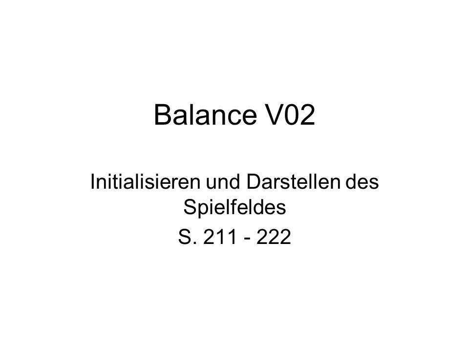 Balance V02 Initialisieren und Darstellen des Spielfeldes S. 211 - 222