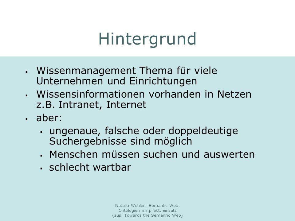 Natalia Wehler: Semantic Web: Ontologien im prakt. Einsatz (aus: Towards the Semanric Web) Hintergrund Wissenmanagement Thema für viele Unternehmen un