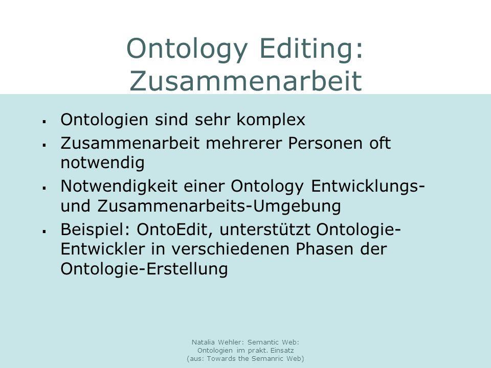 Natalia Wehler: Semantic Web: Ontologien im prakt. Einsatz (aus: Towards the Semanric Web) Ontology Editing: Zusammenarbeit Ontologien sind sehr kompl