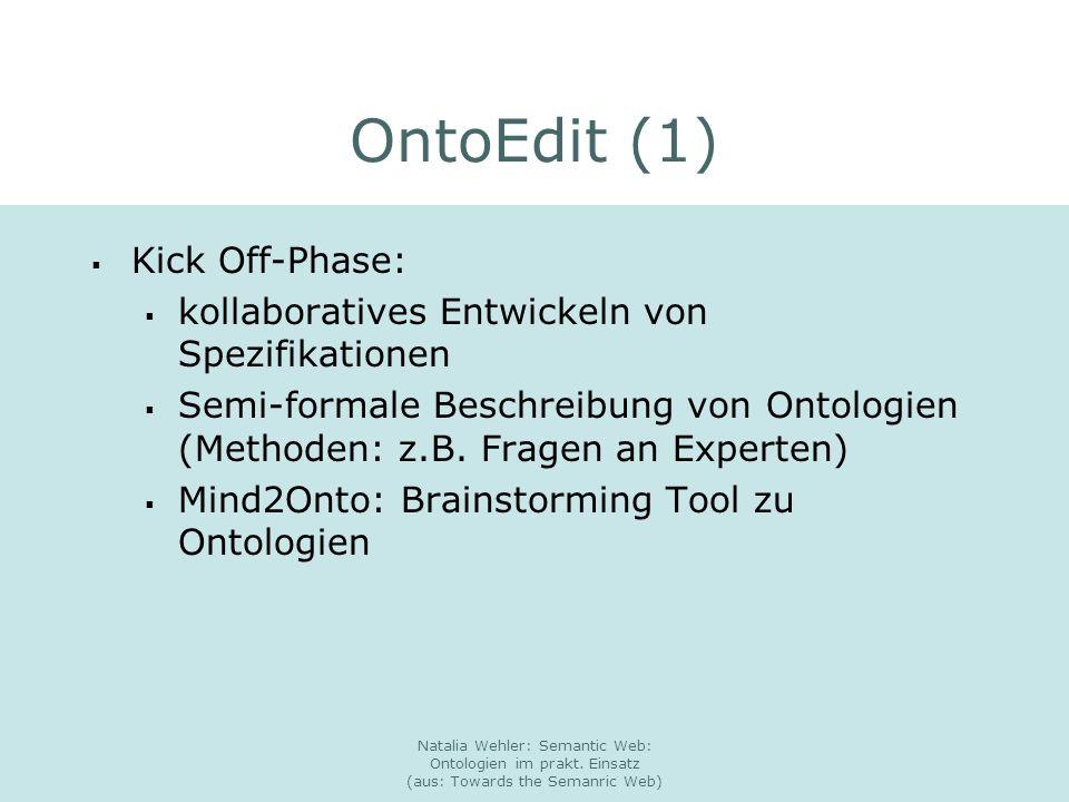 Natalia Wehler: Semantic Web: Ontologien im prakt. Einsatz (aus: Towards the Semanric Web) OntoEdit (1) Kick Off-Phase: kollaboratives Entwickeln von