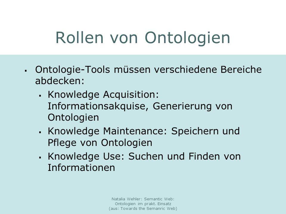 Natalia Wehler: Semantic Web: Ontologien im prakt. Einsatz (aus: Towards the Semanric Web) Rollen von Ontologien Ontologie-Tools müssen verschiedene B