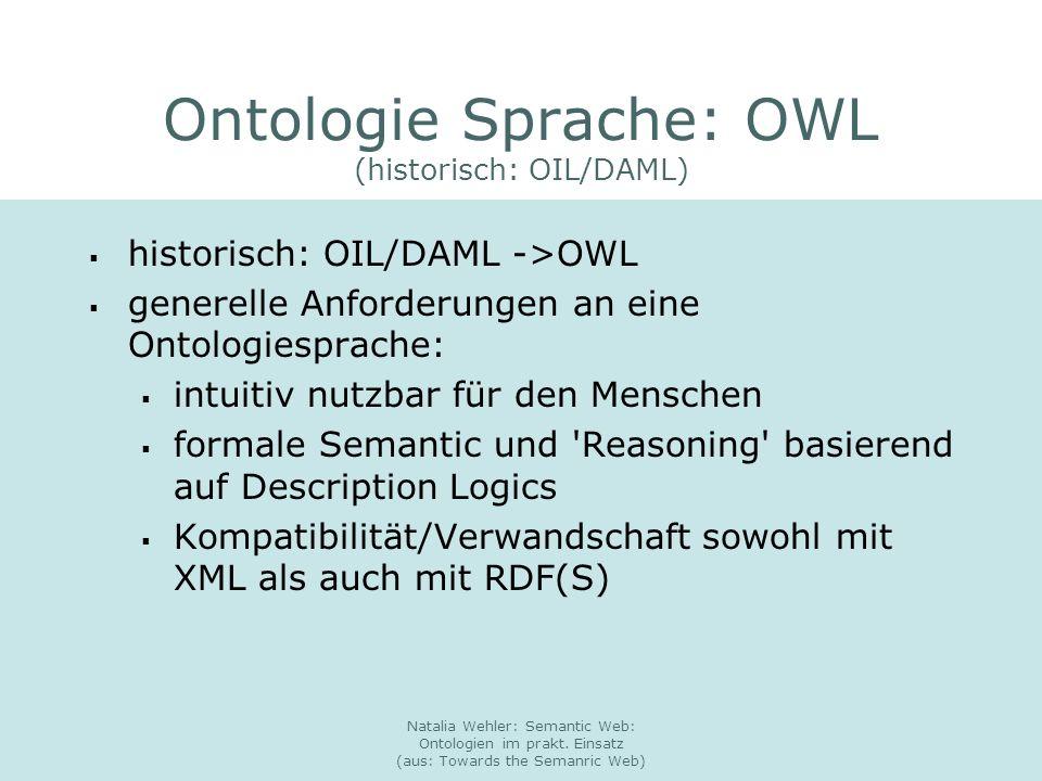 Natalia Wehler: Semantic Web: Ontologien im prakt. Einsatz (aus: Towards the Semanric Web) Ontologie Sprache: OWL (historisch: OIL/DAML) historisch: O