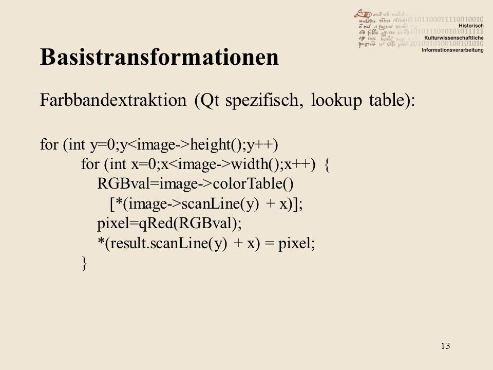 Basistransformationen 13 Farbbandextraktion (Qt spezifisch, lookup table): for (int y=0;y height();y++) for (int x=0;x width();x++) { RGBval=image->co