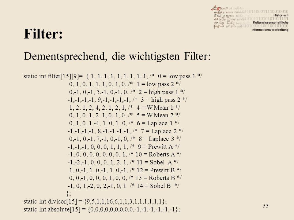 Filter: 35 Dementsprechend, die wichtigsten Filter: static int filter[15][9]= { 1, 1, 1, 1, 1, 1, 1, 1, 1, /* 0 = low pass 1 */ 0, 1, 0, 1, 1, 1, 0, 1, 0, /* 1 = low pass 2 */ 0,-1, 0,-1, 5,-1, 0,-1, 0, /* 2 = high pass 1 */ -1,-1,-1,-1, 9,-1,-1,-1,-1, /* 3 = high pass 2 */ 1, 2, 1, 2, 4, 2, 1, 2, 1, /* 4 = W.Mean 1 */ 0, 1, 0, 1, 2, 1, 0, 1, 0, /* 5 = W.Mean 2 */ 0, 1, 0, 1,-4, 1, 0, 1, 0, /* 6 = Laplace 1 */ -1,-1,-1,-1, 8,-1,-1,-1,-1, /* 7 = Laplace 2 */ 0,-1, 0,-1, 7,-1, 0,-1, 0, /* 8 = Laplace 3 */ -1,-1,-1, 0, 0, 0, 1, 1, 1, /* 9 = Prewitt A */ -1, 0, 0, 0, 0, 0, 0, 0, 1, /* 10 = Roberts A */ -1,-2,-1, 0, 0, 0, 1, 2, 1, /* 11 = Sobel A */ 1, 0,-1, 1, 0,-1, 1, 0,-1, /* 12 = Prewitt B */ 0, 0,-1, 0, 0, 0, 1, 0, 0, /* 13 = Roberts B */ -1, 0, 1,-2, 0, 2,-1, 0, 1 /* 14 = Sobel B */ }; static int divisor[15] = {9,5,1,1,16,6,1,1,3,1,1,1,1,1,1}; static int absolute[15] = {0,0,0,0,0,0,0,0,0,-1,-1,-1,-1,-1,-1};