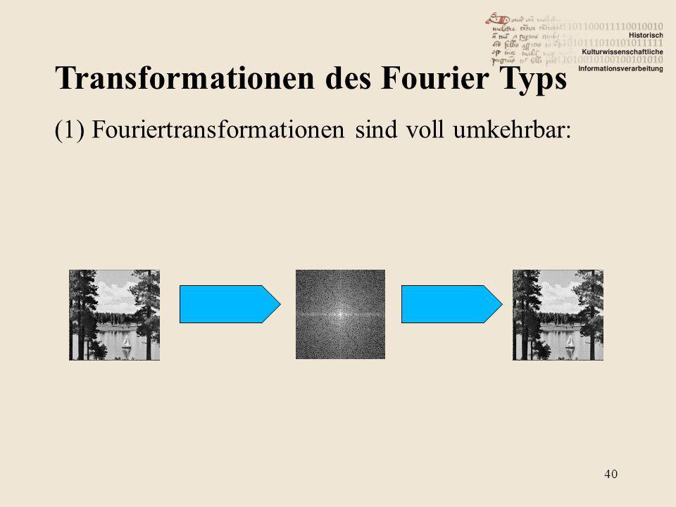 Transformationen des Fourier Typs 40 (1) Fouriertransformationen sind voll umkehrbar: