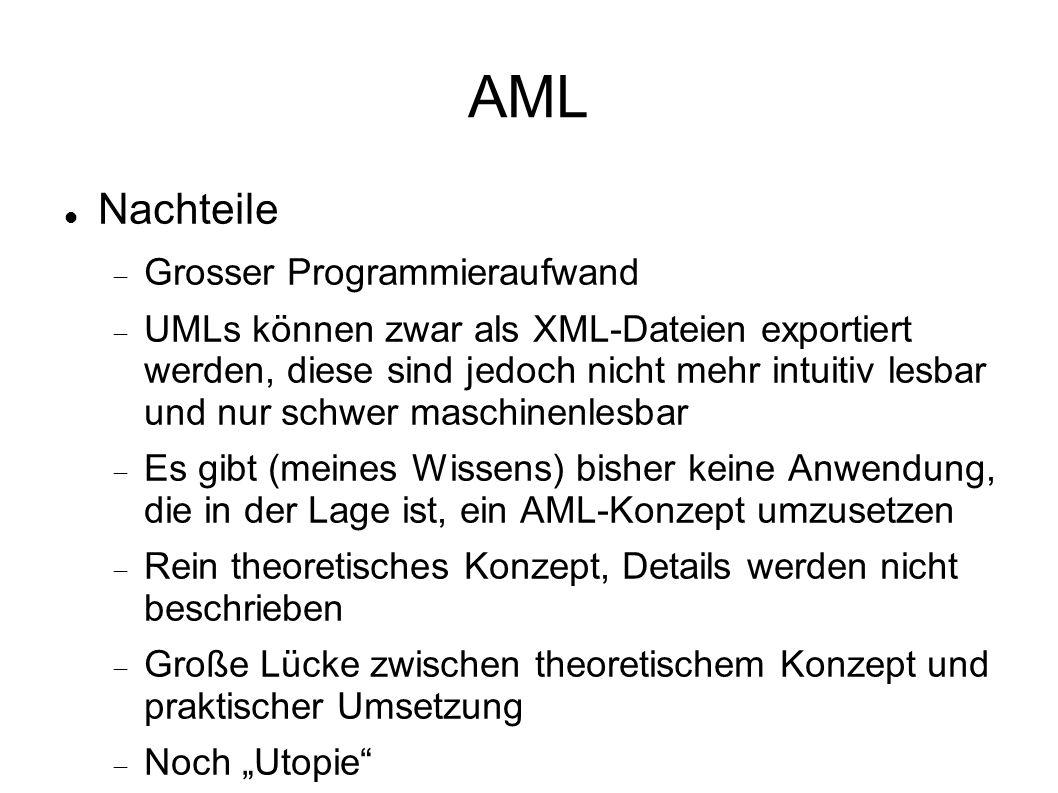 AML Nachteile Grosser Programmieraufwand UMLs können zwar als XML-Dateien exportiert werden, diese sind jedoch nicht mehr intuitiv lesbar und nur schw