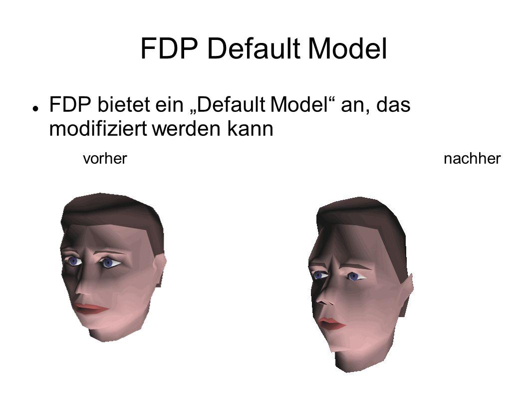 FDP Default Model FDP bietet ein Default Model an, das modifiziert werden kann vorhernachher