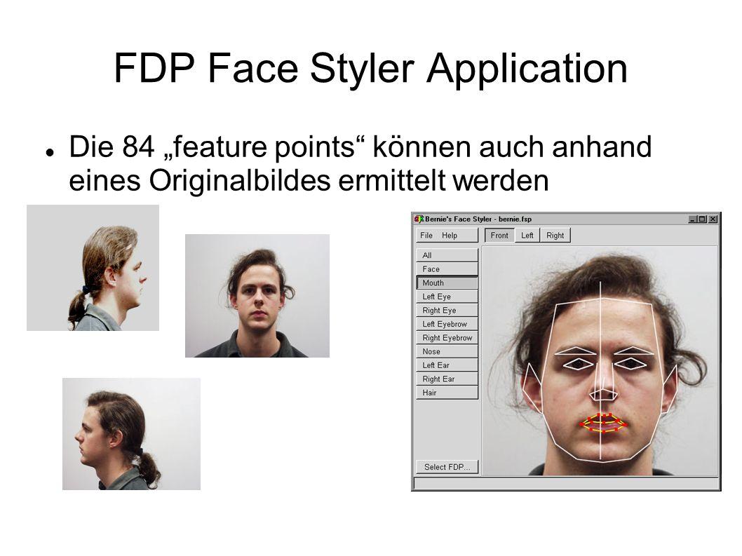 FDP Face Styler Application Die 84 feature points können auch anhand eines Originalbildes ermittelt werden
