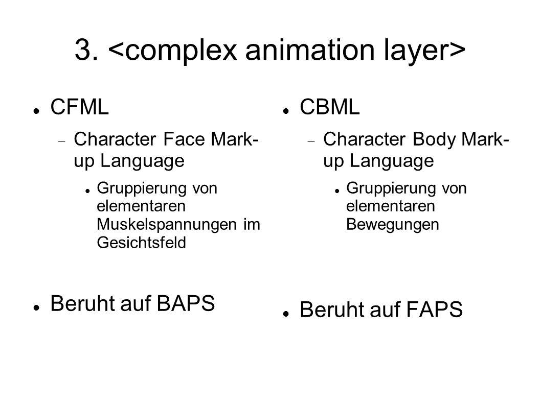 3. CFML Character Face Mark- up Language Gruppierung von elementaren Muskelspannungen im Gesichtsfeld Beruht auf BAPS CBML Character Body Mark- up Lan