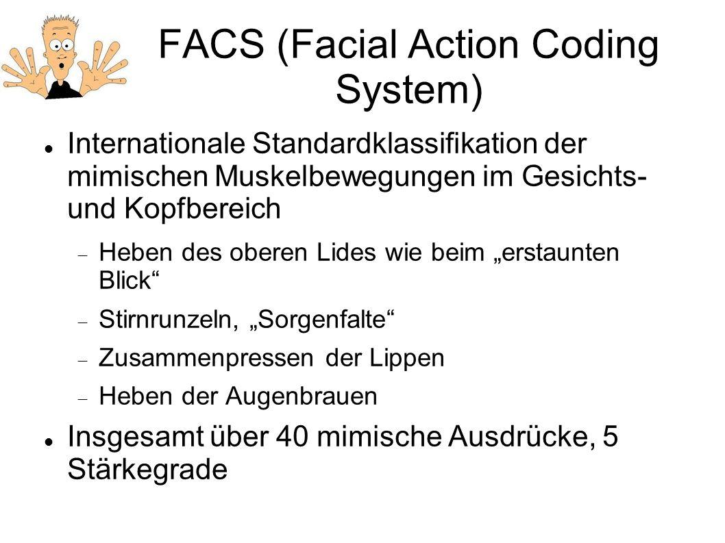FACS (Facial Action Coding System) Internationale Standardklassifikation der mimischen Muskelbewegungen im Gesichts- und Kopfbereich Heben des oberen