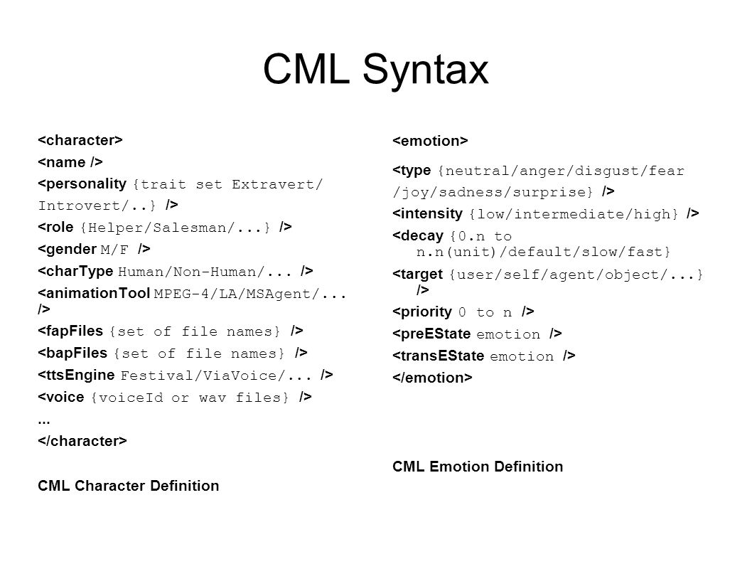CML Syntax <personality {trait set Extravert/ Introvert/..} />...
