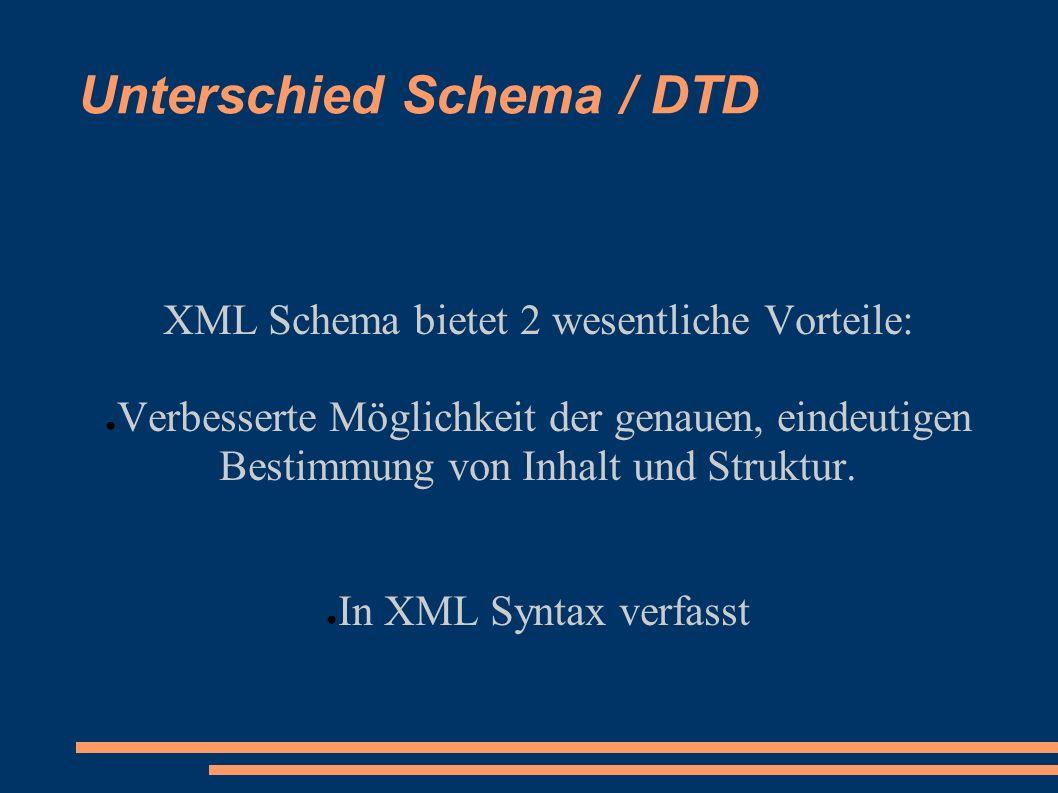 Unterschied Schema / DTD XML Schema bietet 2 wesentliche Vorteile: Verbesserte Möglichkeit der genauen, eindeutigen Bestimmung von Inhalt und Struktur