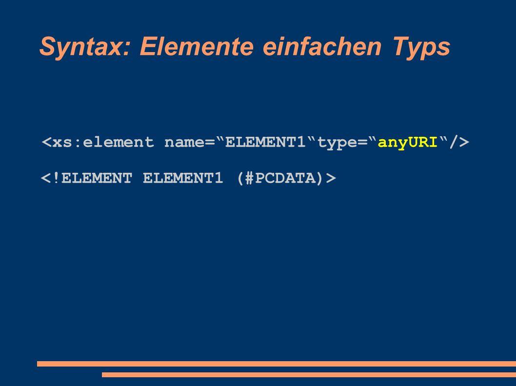 Vordefinierte einfache Datentypen http://www.w3.org/TR/xmlschema-2/#built-in-datatypes