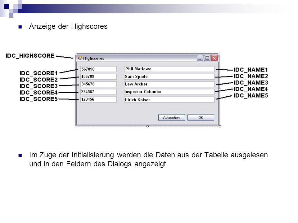 BOOL CALLBACK highscoredialog( HWND hwndDlg, UINT uMsg, WPARAM wParam, LPARAM lParam) { switch (uMsg) { case WM_INITDIALOG: SetDlgItemInt( hwndDlg, IDC_SCORE1, ultris_highscores.get_score(0), FALSE); SetDlgItemInt( hwndDlg, IDC_SCORE2, ultris_highscores.get_score(1), FALSE); SetDlgItemInt( hwndDlg, IDC_SCORE3, ultris_highscores.get_score(2), FALSE); […] SetDlgItemText( hwndDlg, IDC_NAME1, ultris_highscores.get_name(0)); SetDlgItemText( hwndDlg, IDC_NAME2, ultris_highscores.get_name(1)); SetDlgItemText( hwndDlg, IDC_NAME3, ultris_highscores.get_name(2)); […] return TRUE; case WM_COMMAND: if((wParam == IDOK)||(wParam == IDCANCEL)) EndDialog(hwndDlg, wParam); break; } return FALSE; }