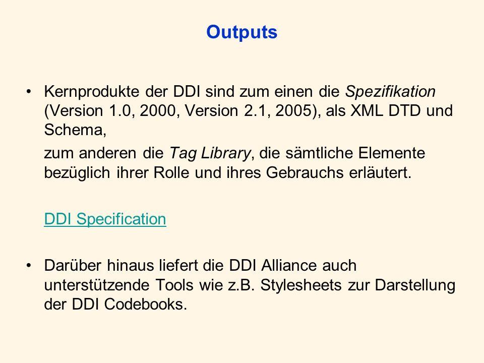 Outputs Kernprodukte der DDI sind zum einen die Spezifikation (Version 1.0, 2000, Version 2.1, 2005), als XML DTD und Schema, zum anderen die Tag Libr