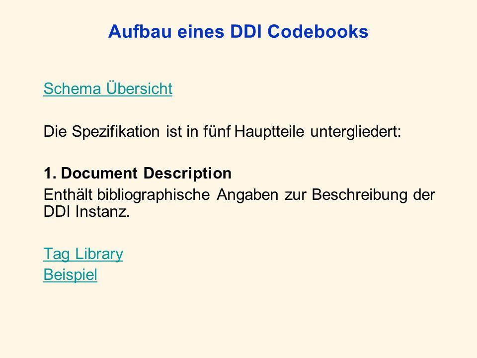 Aufbau eines DDI Codebooks Schema Übersicht Die Spezifikation ist in fünf Hauptteile untergliedert: 1. Document Description Enthält bibliographische A