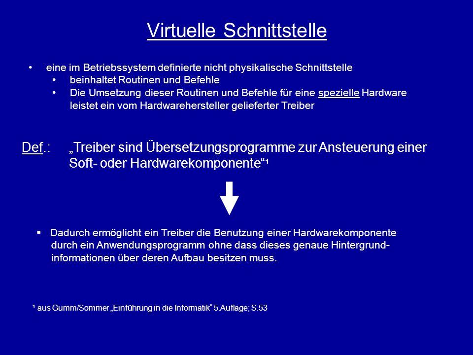 Virtuelle Schnittstelle Def.:Treiber sind Übersetzungsprogramme zur Ansteuerung einer Soft- oder Hardwarekomponente ¹ ¹ aus Gumm/Sommer Einführung in
