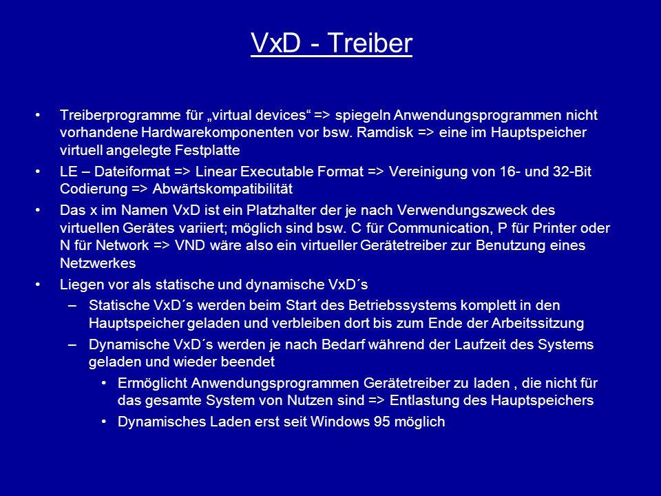 VxD - Treiber Treiberprogramme für virtual devices => spiegeln Anwendungsprogrammen nicht vorhandene Hardwarekomponenten vor bsw. Ramdisk => eine im H