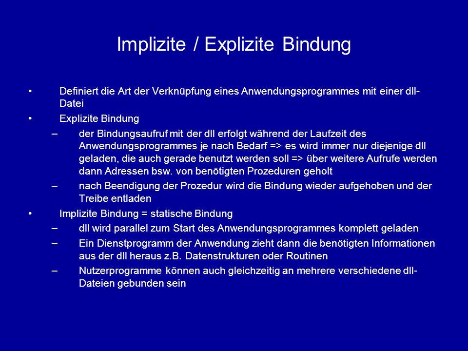 Implizite / Explizite Bindung Definiert die Art der Verknüpfung eines Anwendungsprogrammes mit einer dll- Datei Explizite Bindung –der Bindungsaufruf