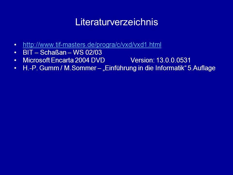 Literaturverzeichnis http://www.tif-masters.de/progra/c/vxd/vxd1.html BIT – Schaßan – WS 02/03 Microsoft Encarta 2004 DVD Version: 13.0.0.0531 H.-P. G
