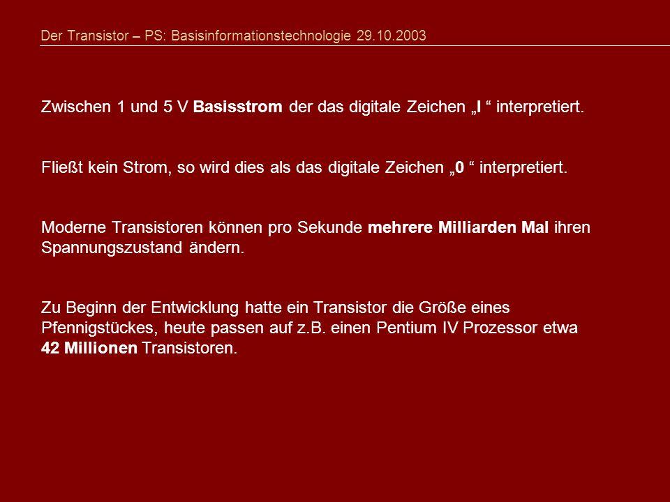 Der Transistor – PS: Basisinformationstechnologie 29.10.2003 Zwischen 1 und 5 V Basisstrom der das digitale Zeichen I interpretiert.